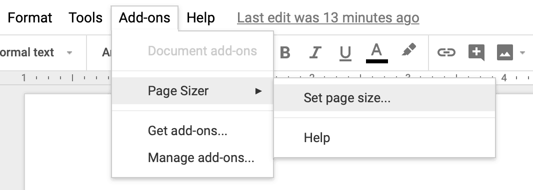 Use the Page Sizer add-on to get rid of page breaks in Google Docs.