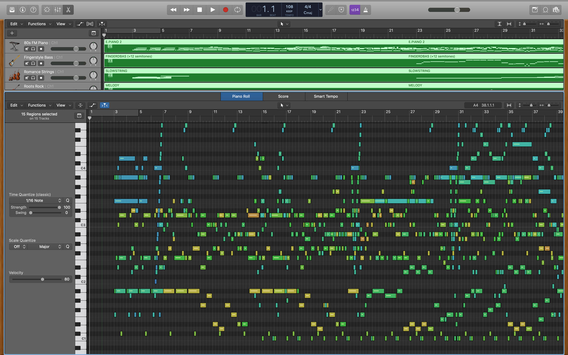 MIDI data in a Logic Pro X session.