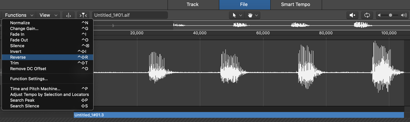 The reverse function in Logic Pro X's audio editor.