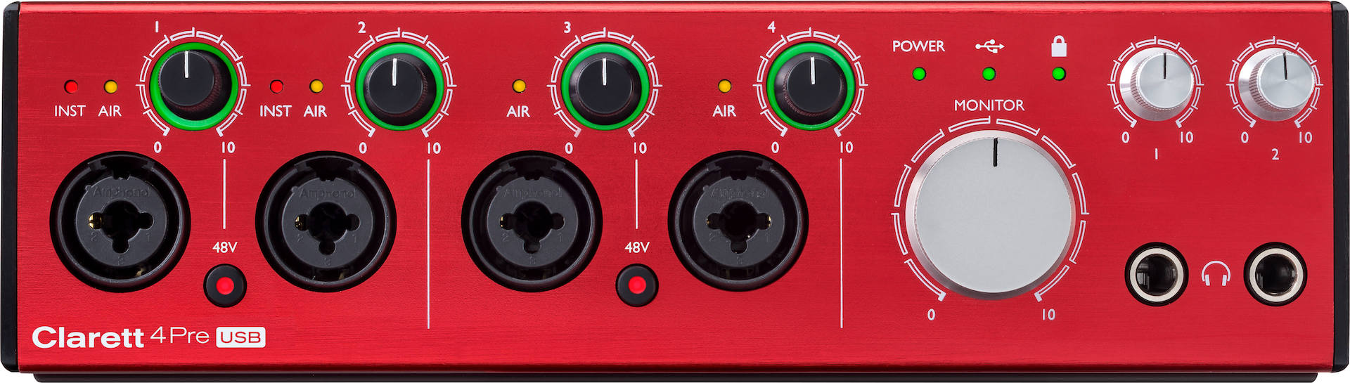 The Focusrite Clarett 4Pre is a great budget audio interface.