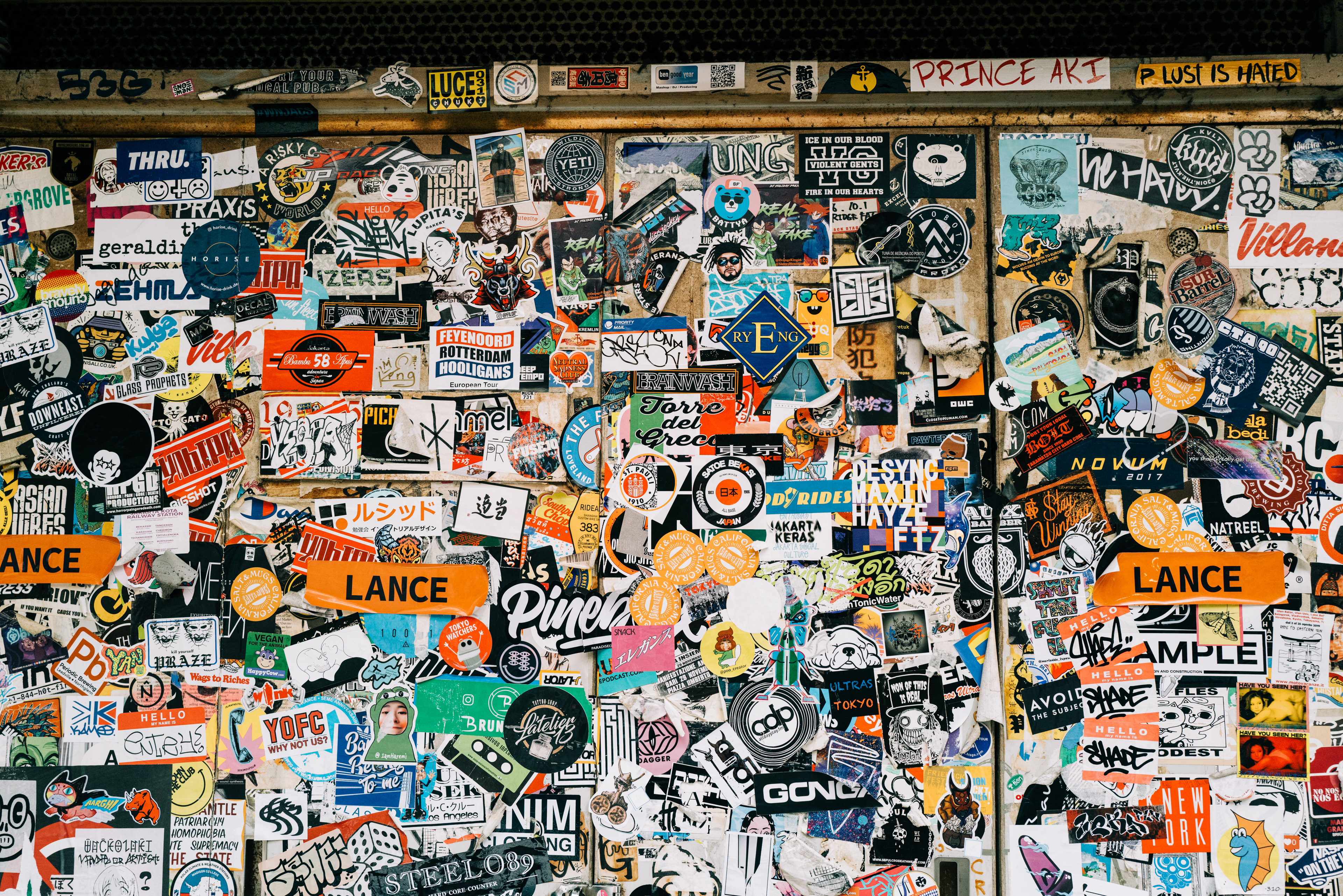 A wall of stickers at Golden Gai in Shinjuku.